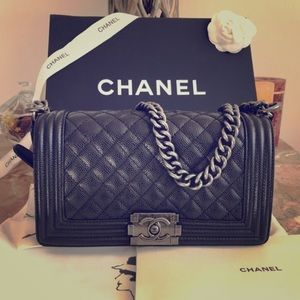 438ffb0f1080 CHANEL Le Boy bag ruthenium hw black caviar